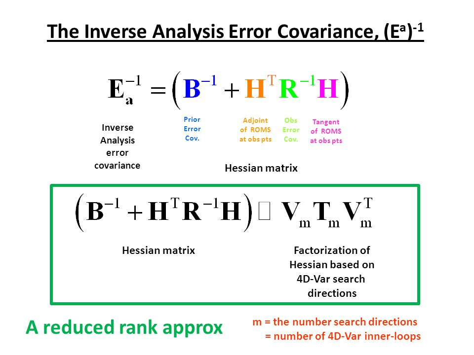 The Inverse Analysis Error Covariance, (Ea)-1 A reduced rank approx