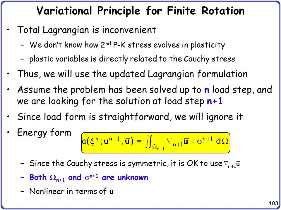 Variational Principle for Finite Rotation