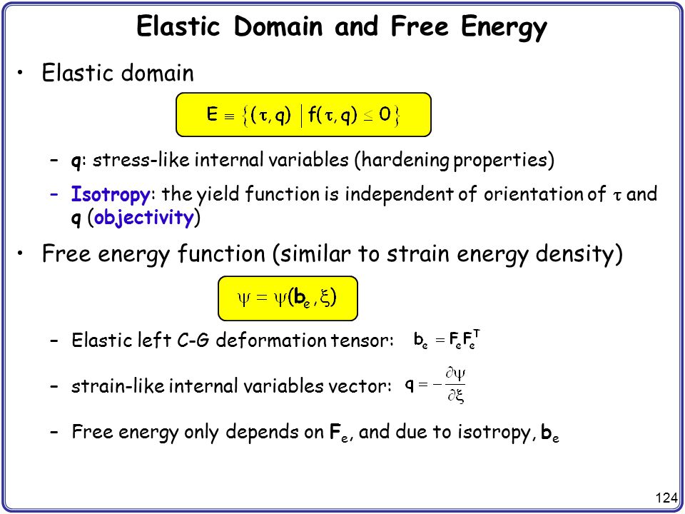 Elastic Domain and Free Energy