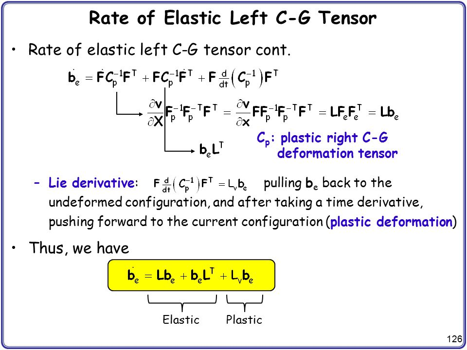 Rate of Elastic Left C-G Tensor