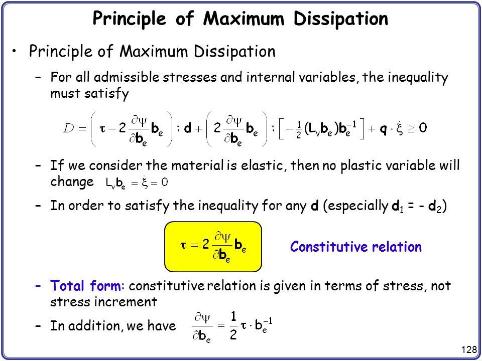 Principle of Maximum Dissipation