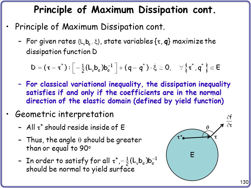 Principle of Maximum Dissipation cont.