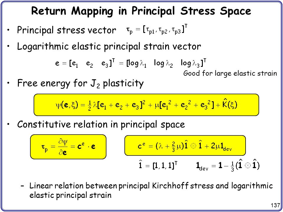 Return Mapping in Principal Stress Space
