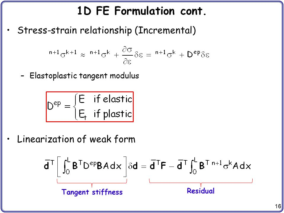 1D FE Formulation cont. Stress-strain relationship (Incremental)
