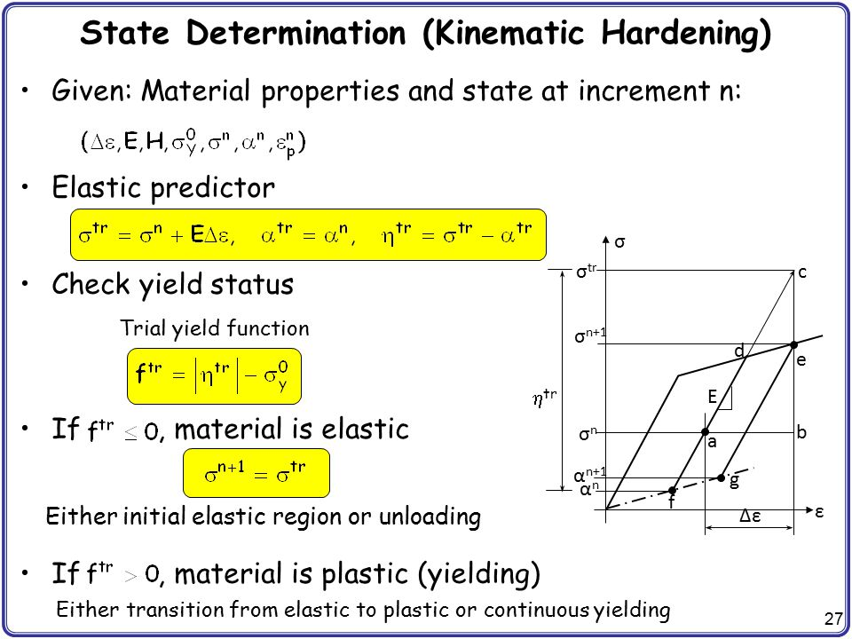 State Determination (Kinematic Hardening)