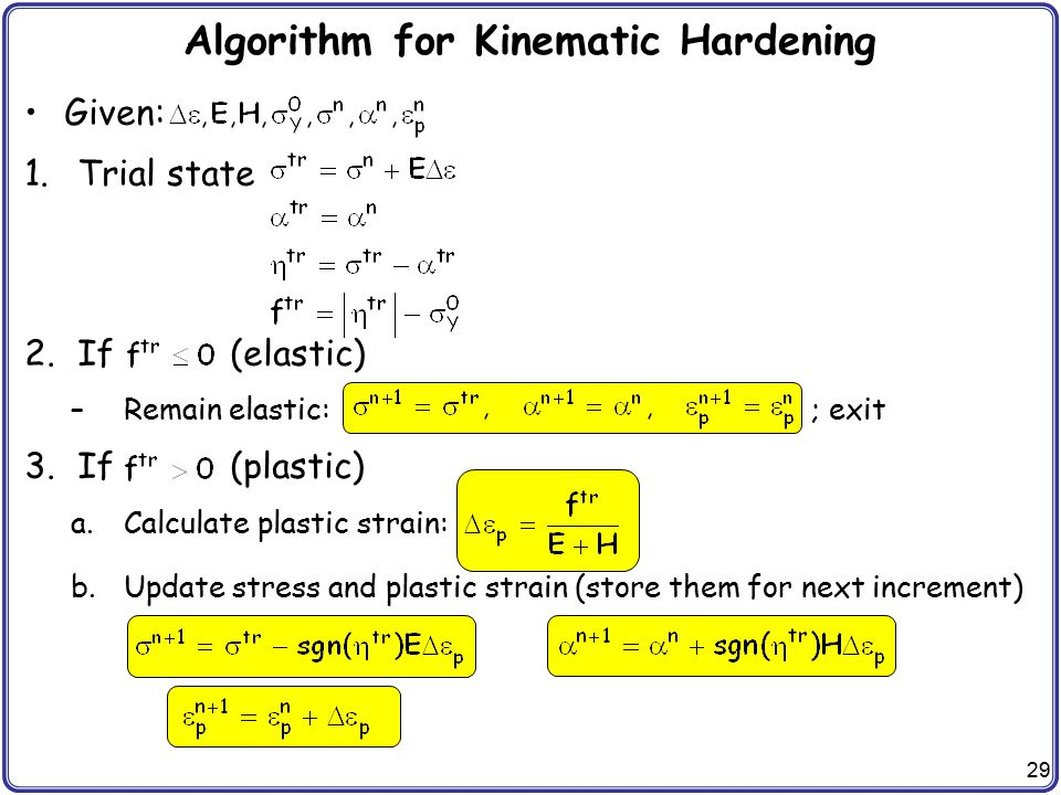Algorithm for Kinematic Hardening