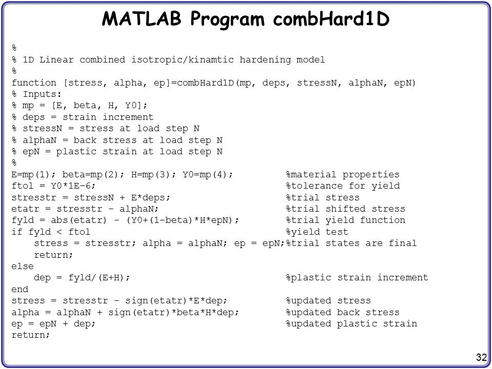 MATLAB Program combHard1D