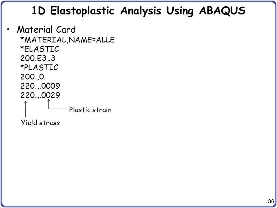 1D Elastoplastic Analysis Using ABAQUS