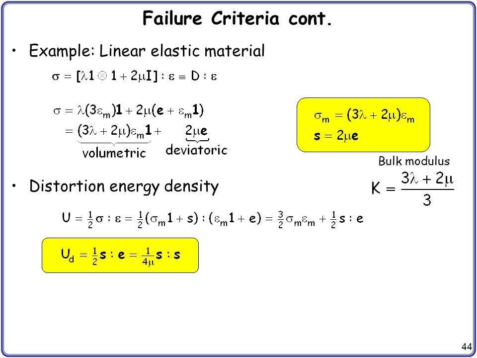 Failure Criteria cont. Example: Linear elastic material