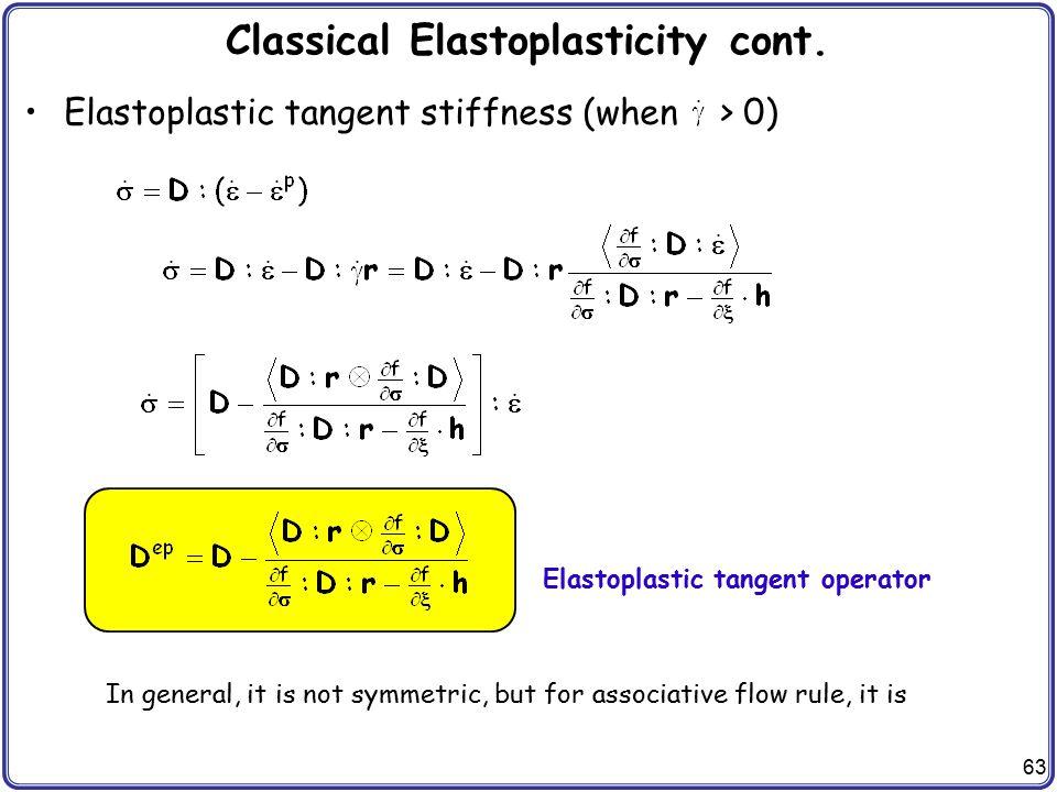 Classical Elastoplasticity cont.