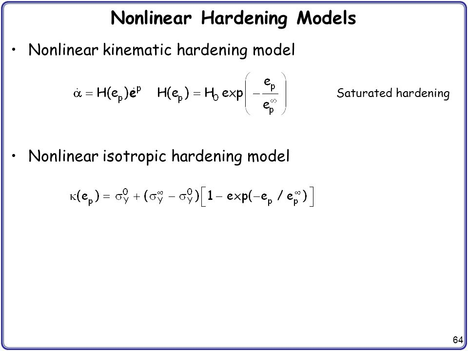 Nonlinear Hardening Models