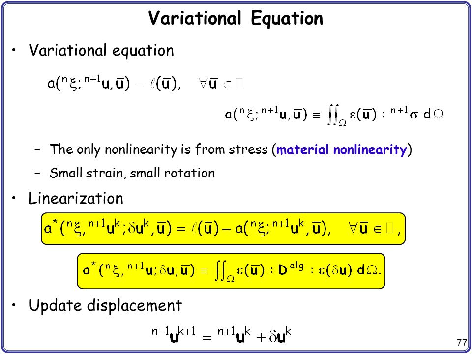 Variational Equation Variational equation Linearization