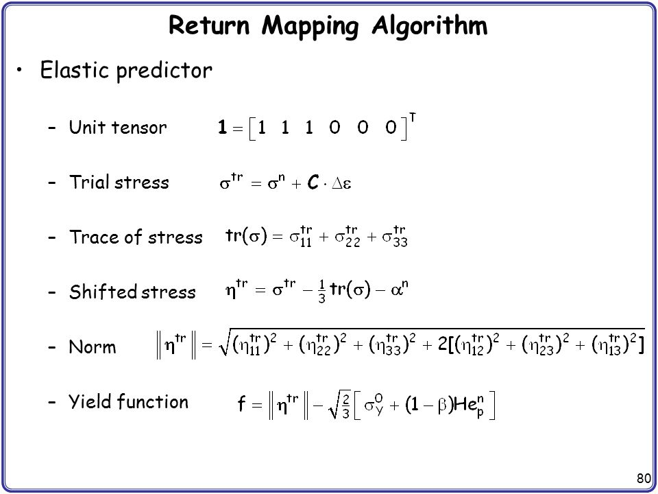 Return Mapping Algorithm