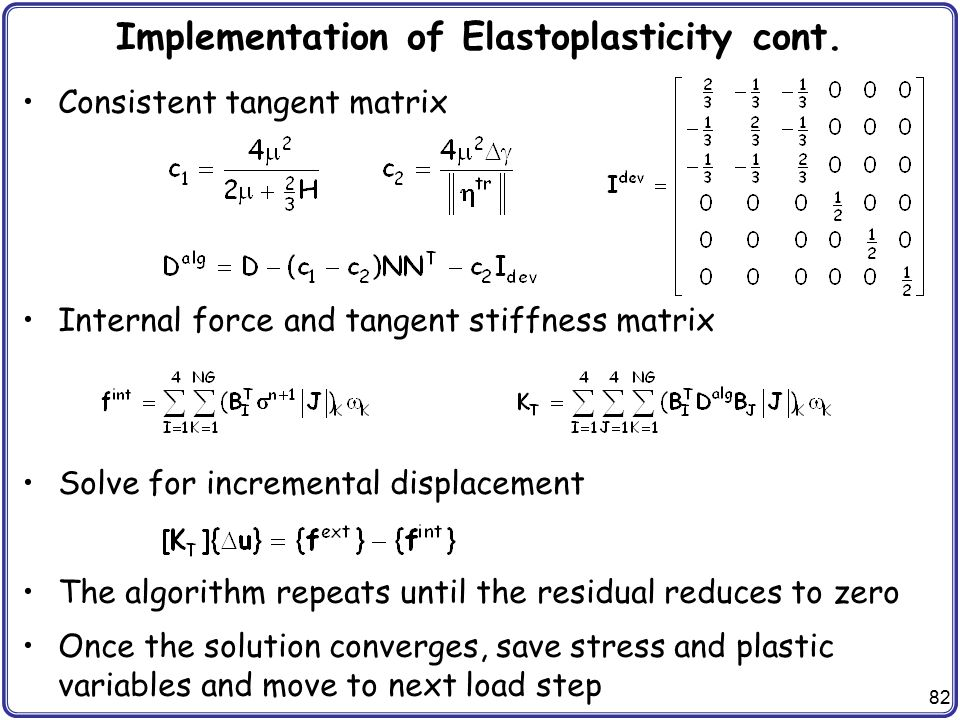 Implementation of Elastoplasticity cont.