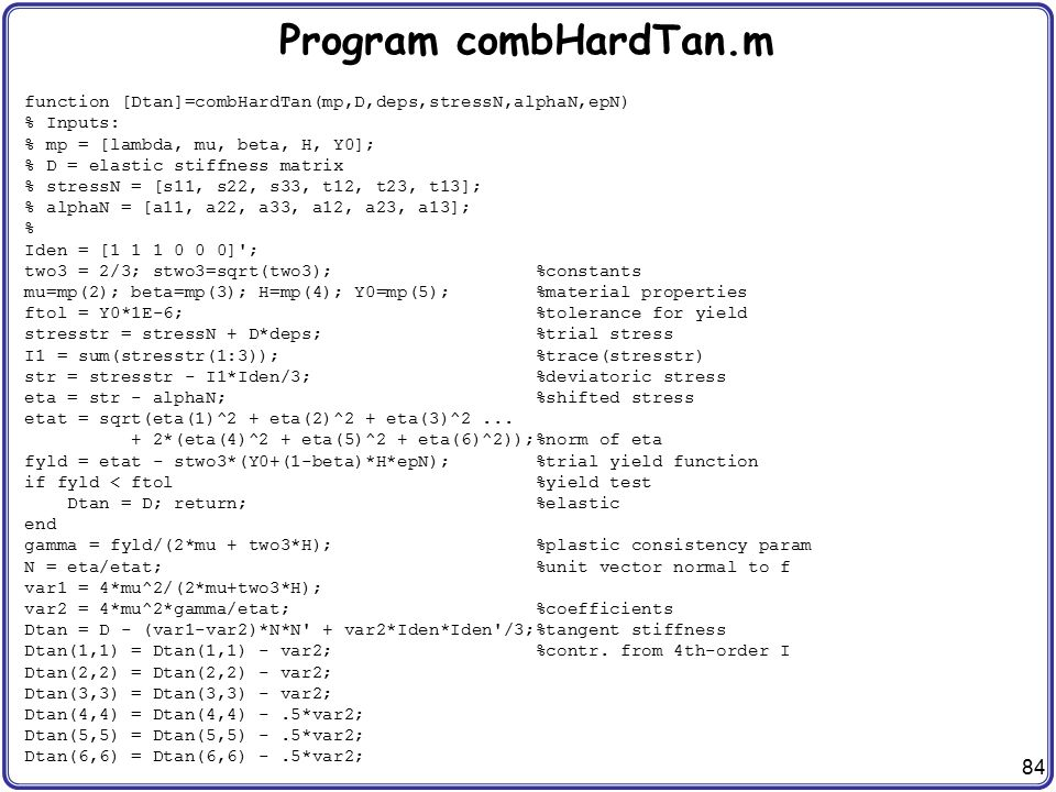 Program combHardTan.m