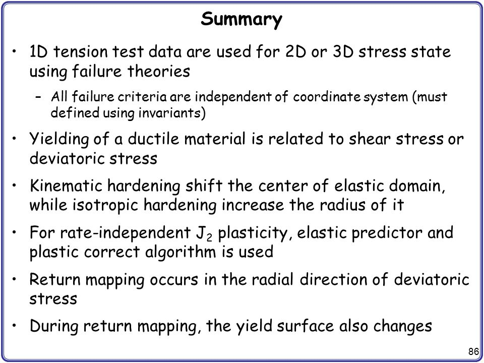 Summary 1D tension test data are used for 2D or 3D stress state using failure theories.