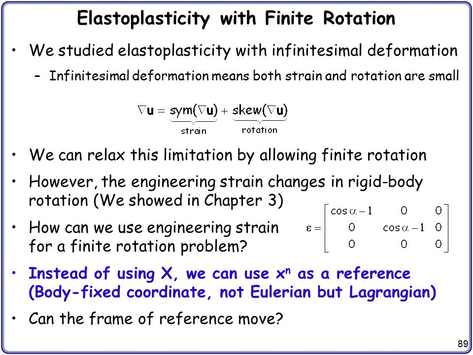 Elastoplasticity with Finite Rotation