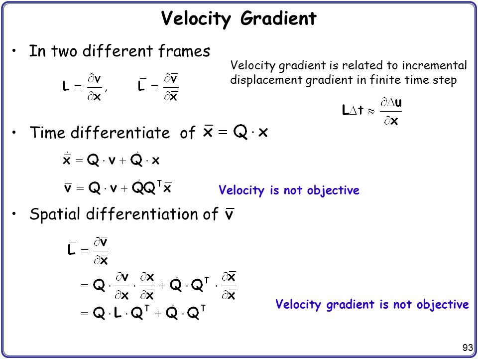 Velocity Gradient In two different frames Time differentiate of