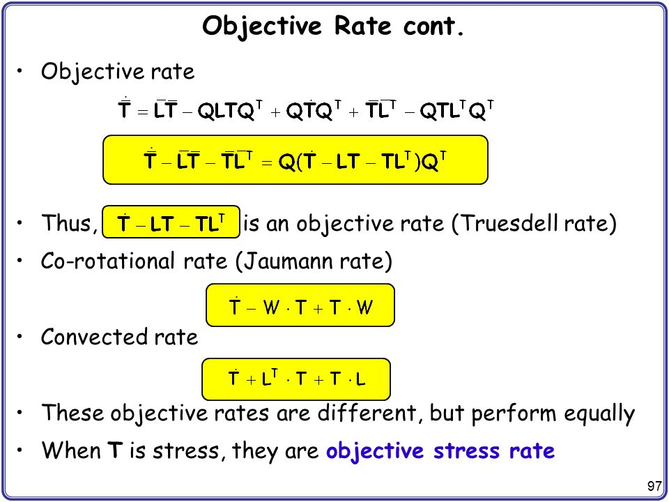 Objective Rate cont. Objective rate