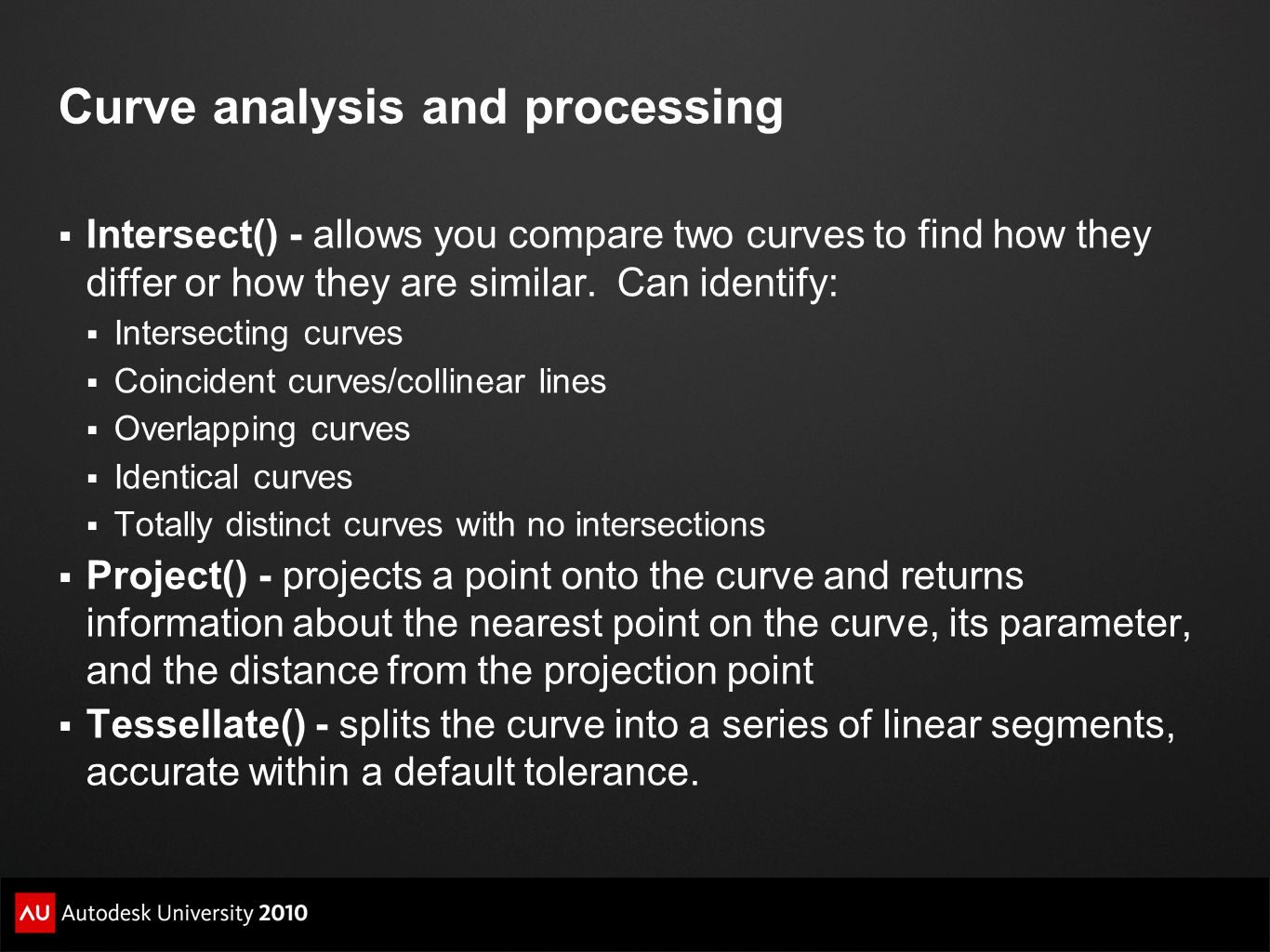 Curve analysis and processing