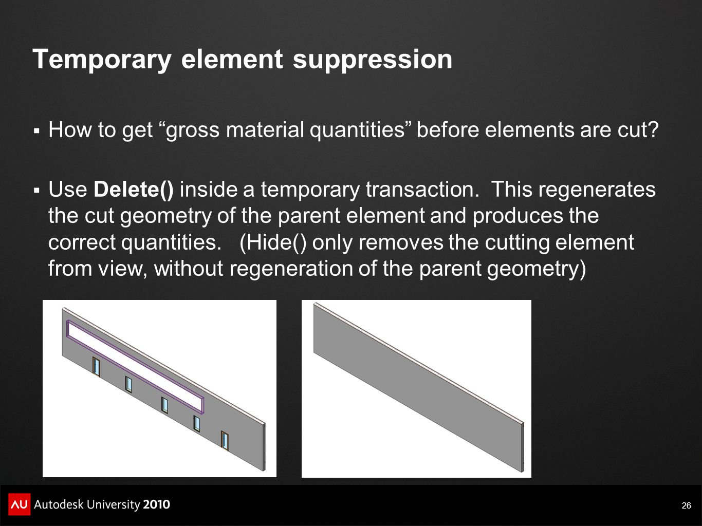 Temporary element suppression