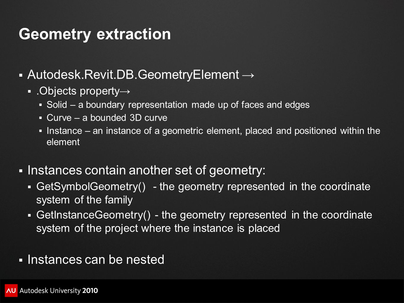 Geometry extraction Autodesk.Revit.DB.GeometryElement →