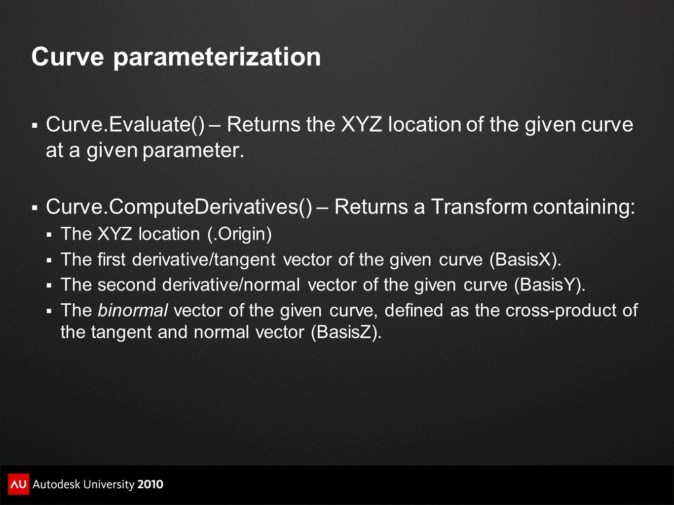 Curve parameterization