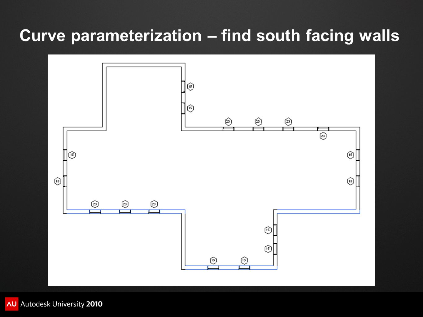 Curve parameterization – find south facing walls