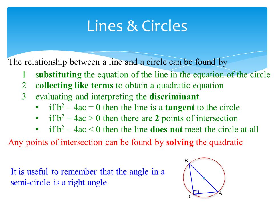 Lines & Circles The relationship between a line and a circle can be found by. substituting the equation of the line in the equation of the circle.
