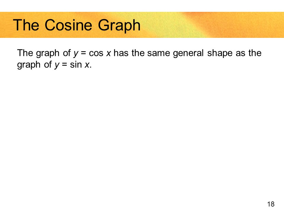 The Cosine Graph The graph of y = cos x has the same general shape as the graph of y = sin x.