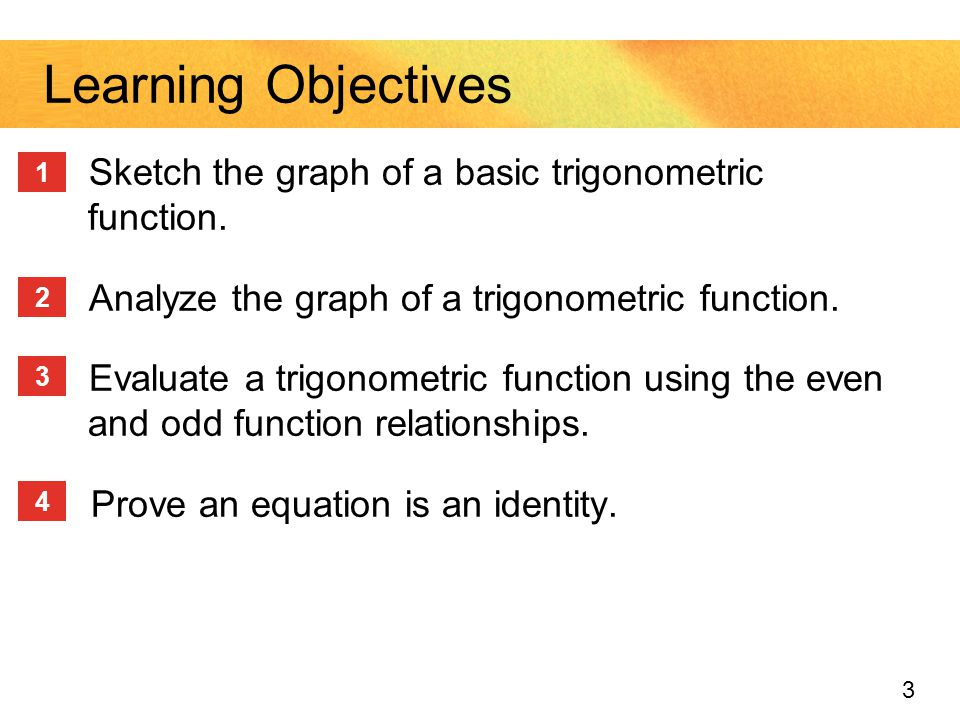 Learning Objectives Sketch the graph of a basic trigonometric function. Analyze the graph of a trigonometric function.