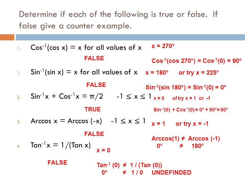 Determine if each of the following is true or false