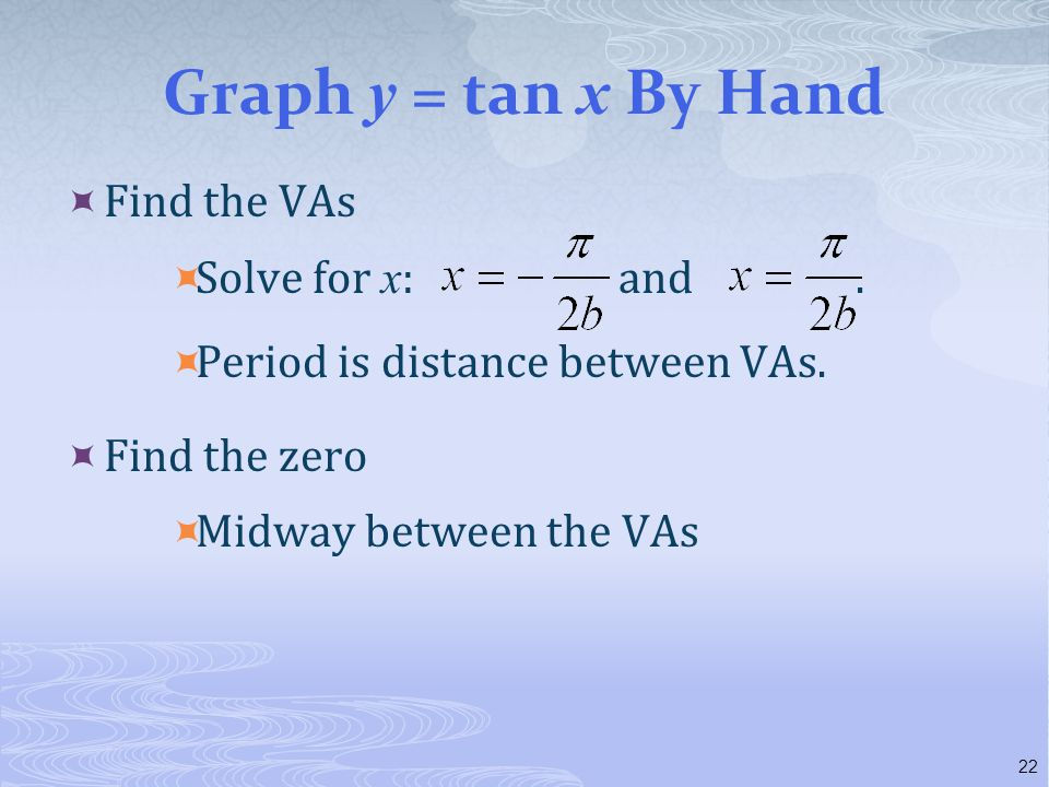 Graph y = tan x By Hand Find the VAs Solve for x: and .