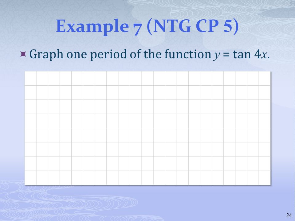 Example 7 (NTG CP 5) Graph one period of the function y = tan 4x.