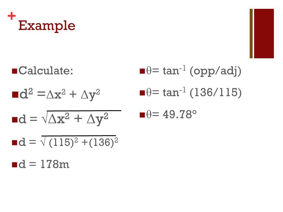 Example d2 =Δx2 + Δy2 d = √Δx2 + Δy2 Calculate: d = √ (115)2 +(136)2