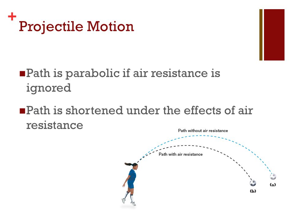 Projectile Motion Path is parabolic if air resistance is ignored