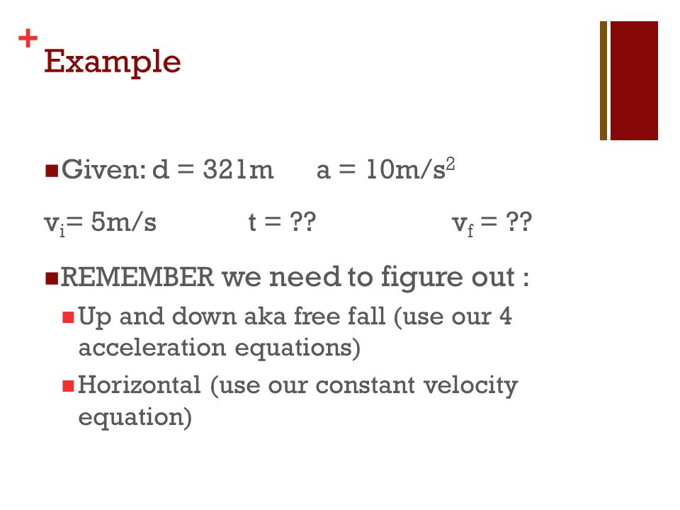 Example Given: d = 321m a = 10m/s2 vi= 5m/s t = vf =