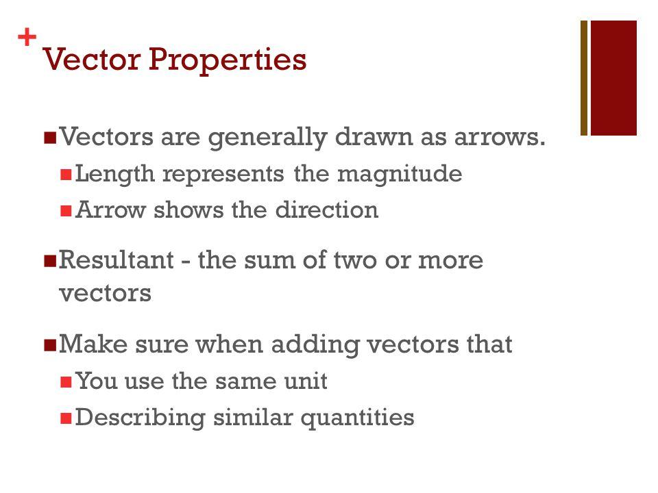 Vector Properties Vectors are generally drawn as arrows.
