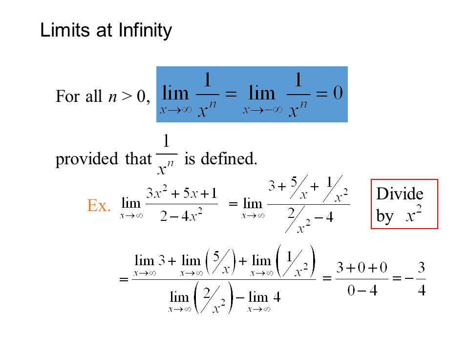 Limits at Infinity For all n > 0, provided that is defined.