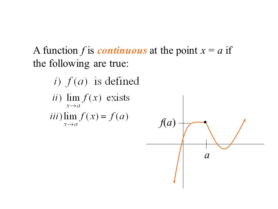 A function f is continuous at the point x = a if the following are true: