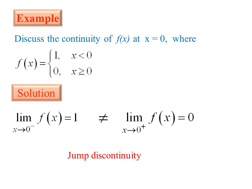 Example Solution Discuss the continuity of f(x) at x = 0, where