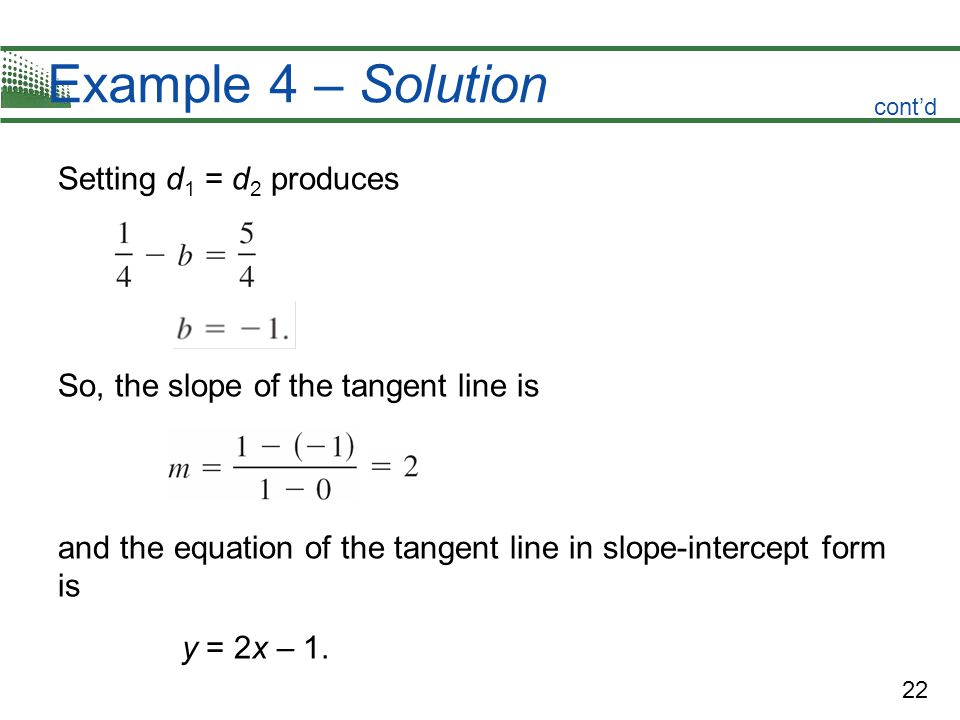 Example 4 – Solution Setting d1 = d2 produces