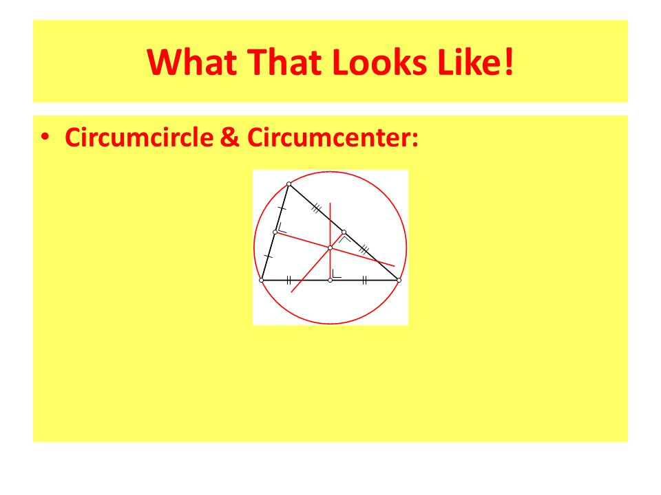 What That Looks Like! Circumcircle & Circumcenter:
