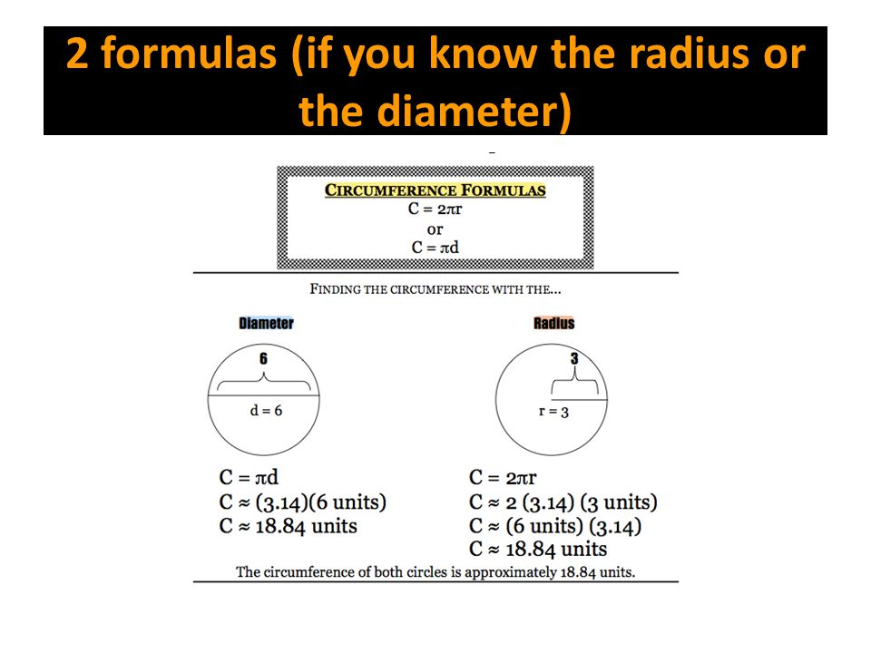 2 formulas (if you know the radius or the diameter)