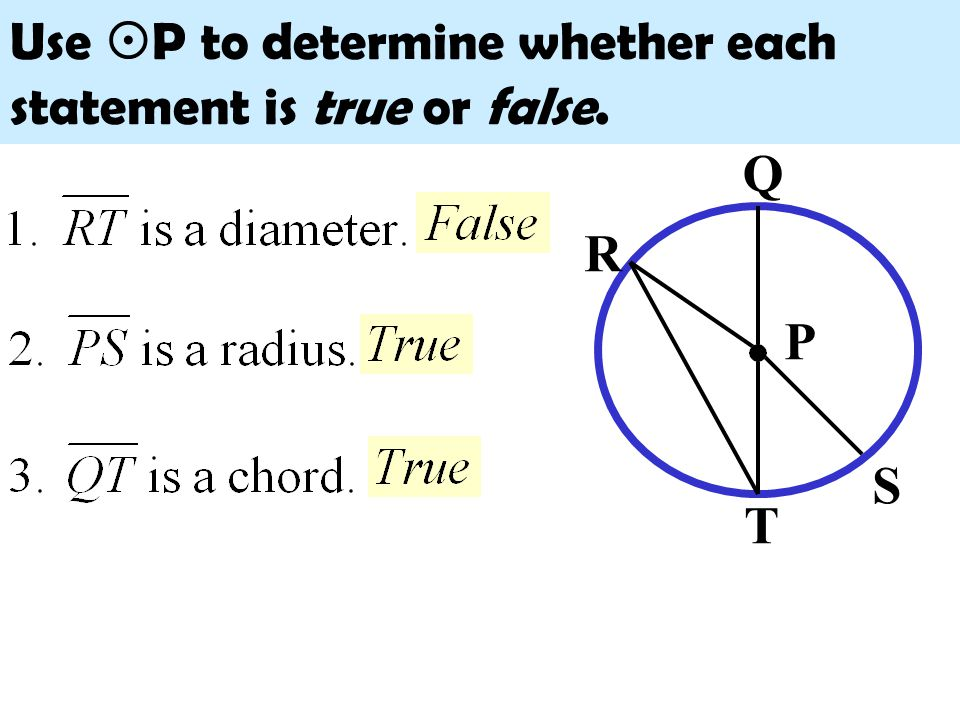 Use P to determine whether each statement is true or false.