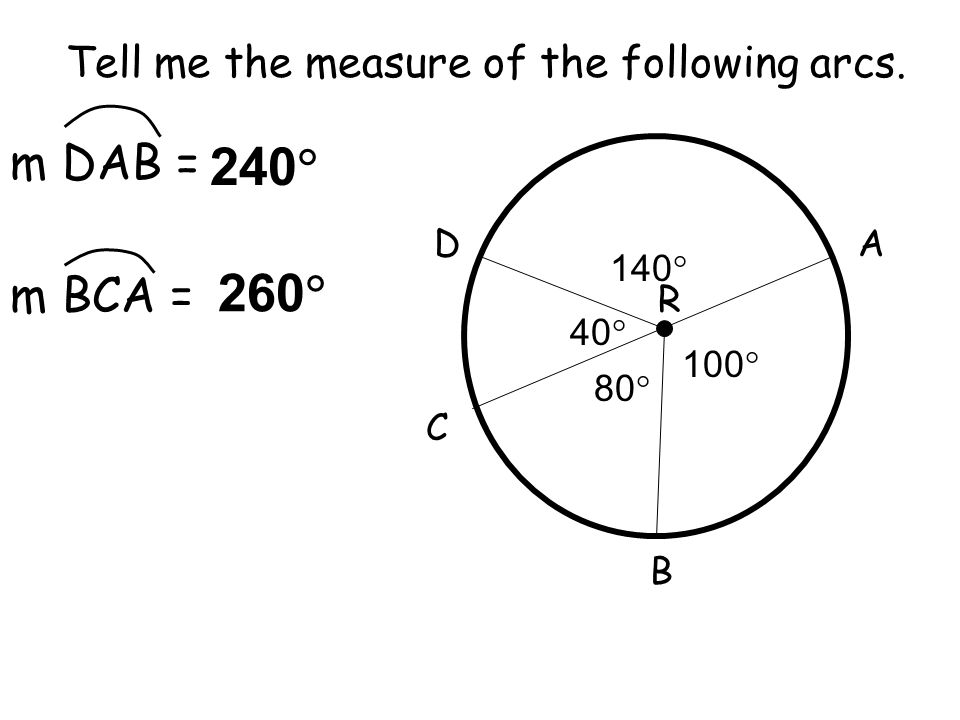 240 260 m DAB = m BCA = Tell me the measure of the following arcs. D