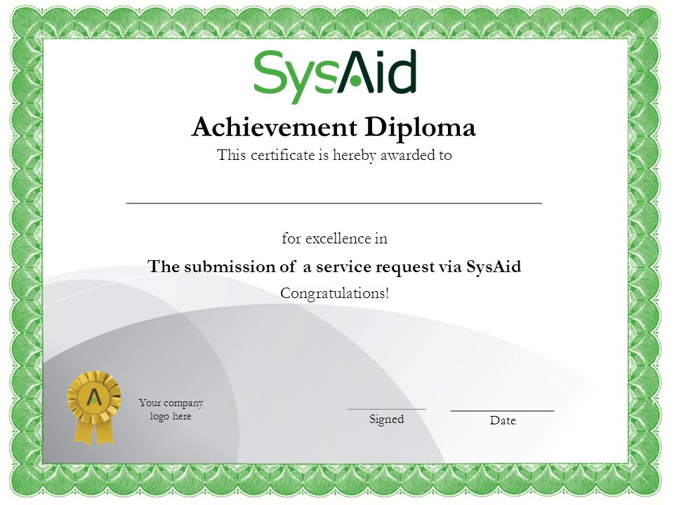 The submission of a service request via SysAid