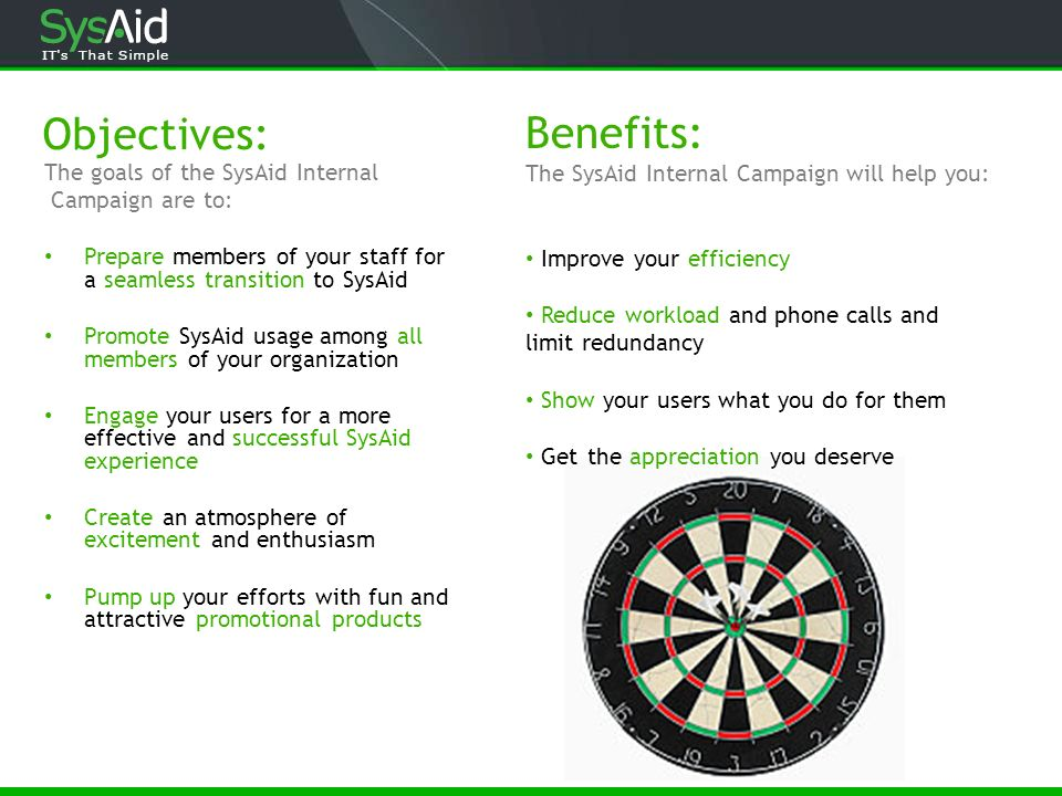 Objectives: Benefits: The SysAid Internal Campaign will help you: