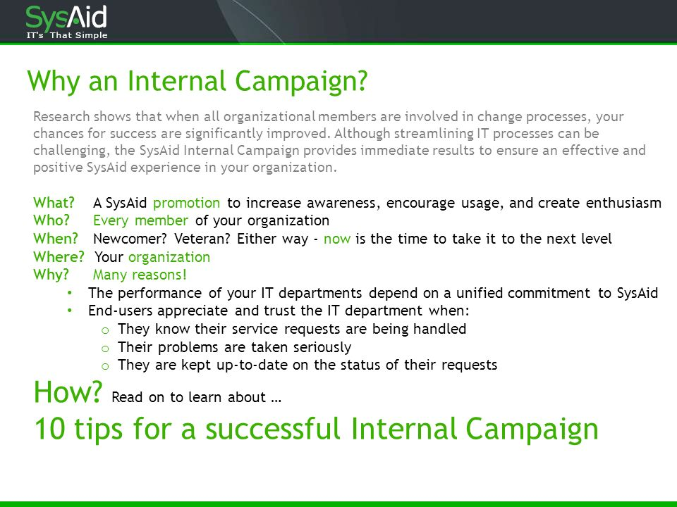 Why an Internal Campaign