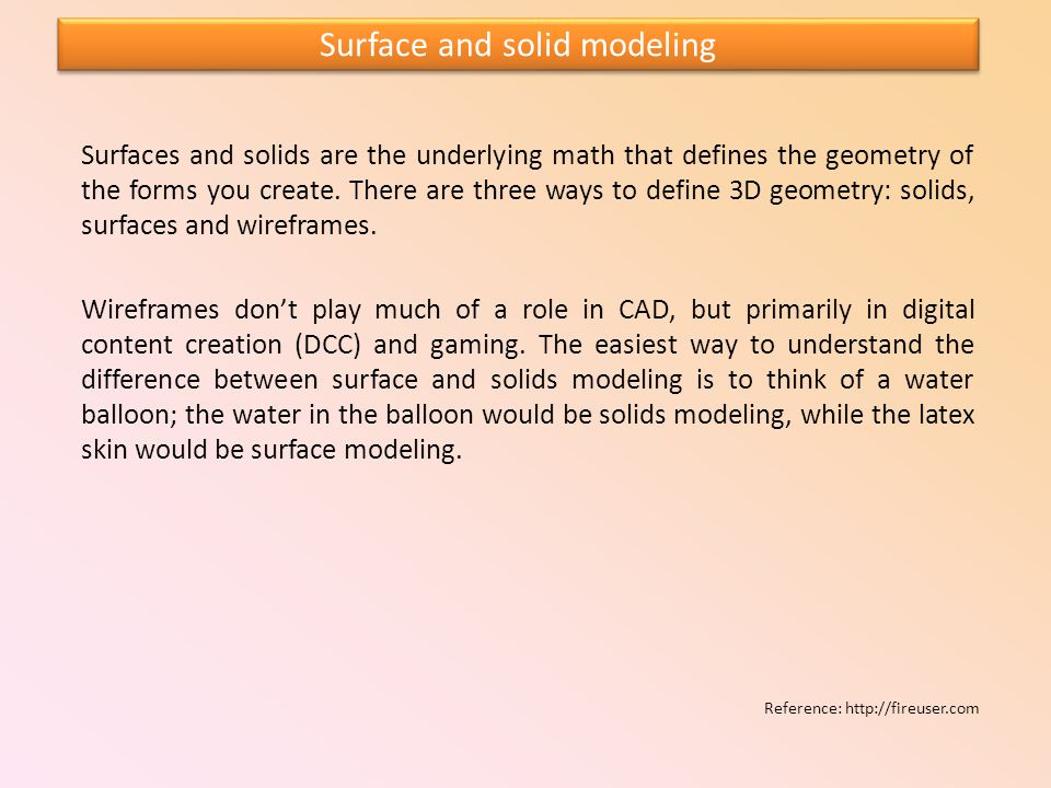 Surface and solid modeling